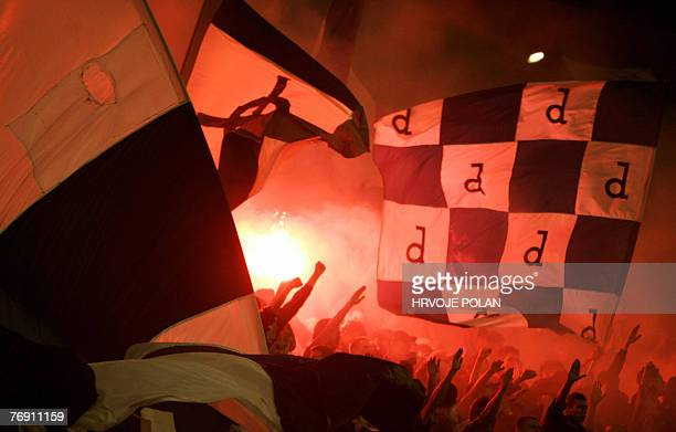 Supporters of Dinamo Zagreb cheer during UEFA cup first leg qualifier football match between Dinamo and Ajax in Zagreb 20 September 2007 AFP PHOTO/...