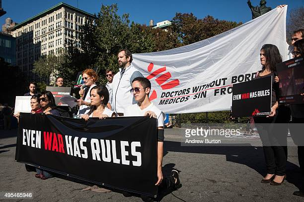 Supporters of Doctors Without Borders/Medecins Sans Frontieres gather in Union Square to commemorate the one month anniversary of the bombing of a...