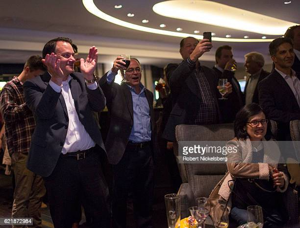 Supporters of Donald Trump cheer after hearing the vote results for their candidate at the Hilton Hote on November 9 2016 in New York City Donald...