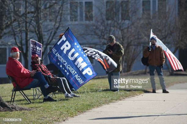 Supporters of Donald Trump demonstrate outside the Missouri State Capitol building on January 20, 2021 in Jefferson City, Missouri. Supporters of...