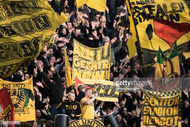 Supporters of Dortmund are seen during the Bundesliga match between SV Darmstadt 98 and Borussia Dortmund at Jonathan Heimes Stadion am...