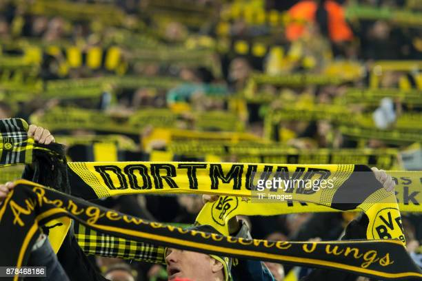 Supporters of Dortmund with their scarves are seen during the UEFA Champions League group H match between Borussia Dortmund and Tottenham Hotspur at...