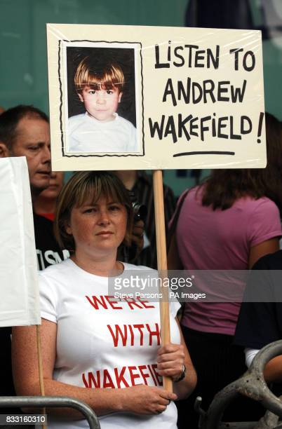 Supporters of Dr Andrew Wakefield and Professors John WalkerSmith and Simon Murch outside at a General Medical Council hearing in central London
