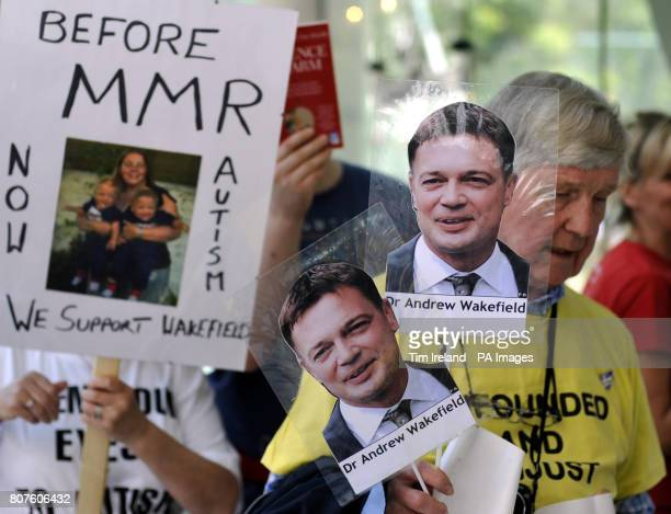 Supporters of Dr Andrew Wakefield the doctor at the centre of the MMR scandal outside the GMC in London