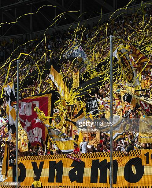 Supporters of Dresden during the Third Liga match between Dynamo Dresden and Carl Zeiss Jena on July 31 2010 in Dresden Germany