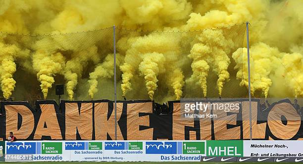 Supporters of Dresden say goodbye to Cristian Fiel prior to the third league match between SG Dynamo Dresden and FC Hansa Rostock at...