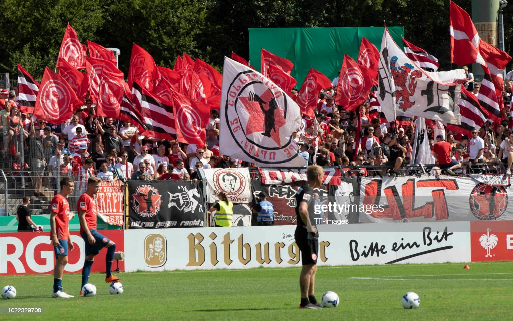 Supporters of Duesseldorf are seen during the DFB Cup first round match between TuS RW Koblenz and Fortuna Duesseldorf at Stadion Oberwerth on August 19, 2018 in Koblenz am Rhein, Germany.