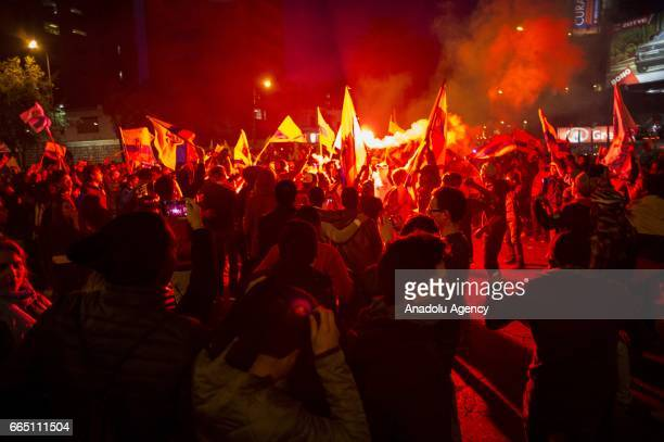 Supporters of Ecuadorean presidential candidate for the CREO party Guillermo Lasso burn tires during a protest after the presidential election in...