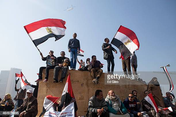 Supporters of Egyptian Defense Minister General Abdel Fattah al-Sisi gather in Tahrir Square to celebrate the third anniversary of Egypt's 2011...