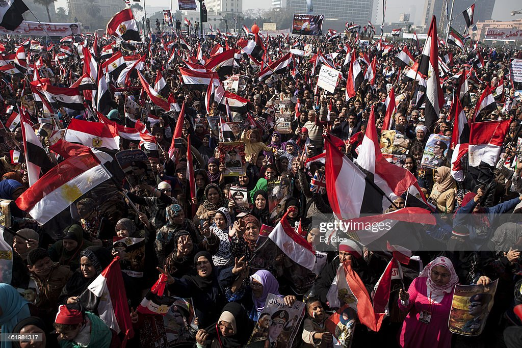 Egyptians Gather For Third Revolution Anniversary In Tahrir Square : News Photo