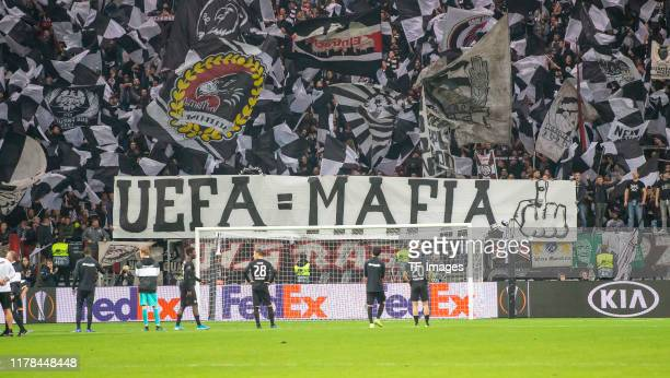 Supporters of Eintarcht Frankfurter with banner against UEFA during the UEFA Europa League group F match between Eintracht Frankfurt and Standard...