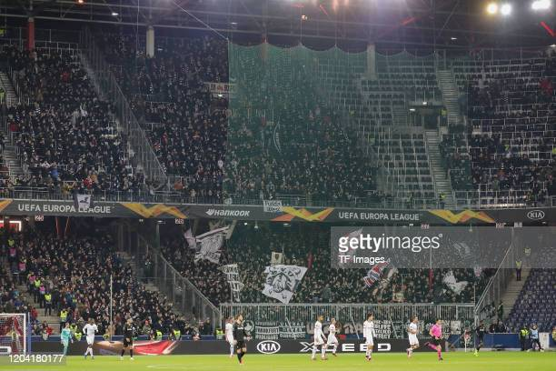 Supporters of Eintracht Frankfurt are seen during the UEFA Europa League round of 32 second leg match between RB Salzburg and Eintracht Frankfurt at...