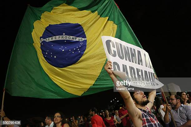 Supporters of embattled Brazilian President Dilma Rousseff demonstrate outside the Planalto presidential palace on May 10, 2016 in Brasilia, Brazil....