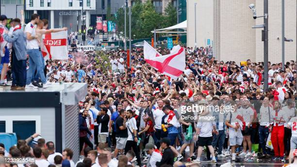 Supporters of England prior to the UEFA Euro 2020 Championship Final between Italy and England at Wembley Stadium on July 11, 2021 in London, United...