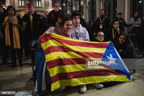 Supporters of 'Esquerra Republicana de Catalunya' ERC follow the election results on December 21 2017 in Barcelona Spain Catalan voters are heading...