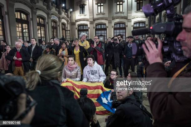 Supporters of Esquerra Republicana de Catalunya' ERC react with relief during the party election night rally as results confirmed that the...