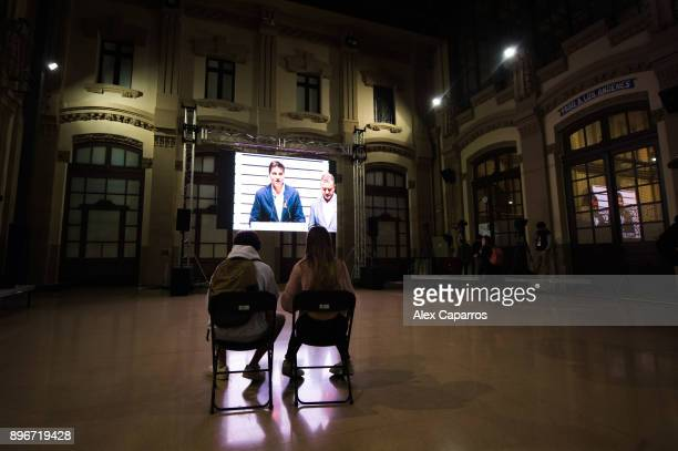 Supporters of 'Esquerra Republicana de Catalunya' ERC wait for results on December 21 2017 in Barcelona Spain Catalan voters are heading to the polls...