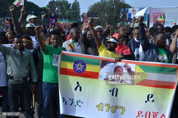Supporters of Ethiopia Prime Minister Abiy Ahmed wait before a rally on Meskel Square in Addis Ababa on June 23 2018 A blast at a rally in Ethiopia's...