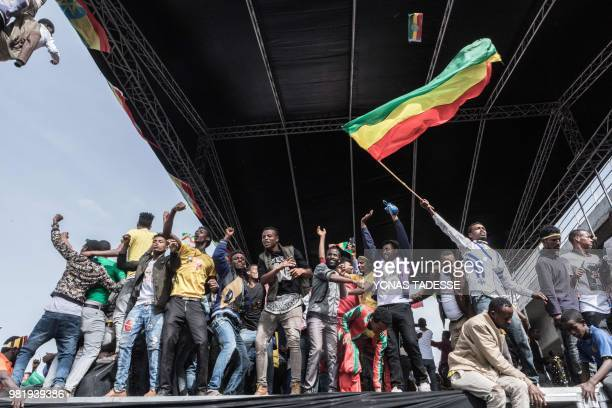 Supporters of Ethiopia Prime Minister attend a rally on Meskel Square in Addis Ababa on June 23 2018 A blast at a rally in Ethiopia's capital today...