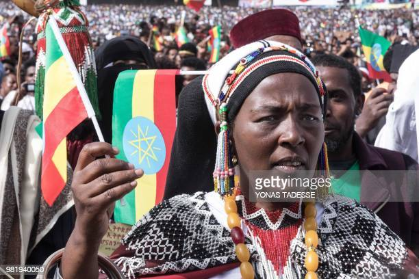 Supporters of Ethiopia Prime Minister attend a rally on Meskel Square in Addis Ababa on June 23, 2018. - A blast at a rally in Ethiopia's capital...