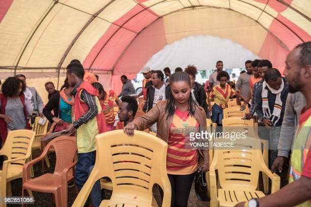 Supporters of Ethiopia's St. George Football Club, one of Addis Ababa's largest football team, prepare to donate blood at Ethiopia Red Cross in Addis...
