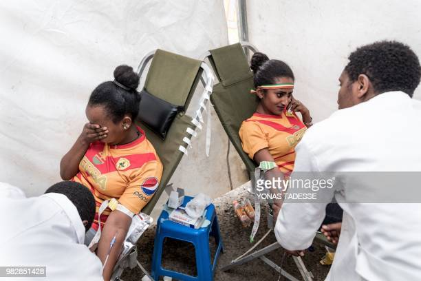 Supporters of Ethiopia's St. George Football Club, one of Addis Ababa's largest football team, donate blood at Ethiopia Red Cross in Addis Ababa, on...