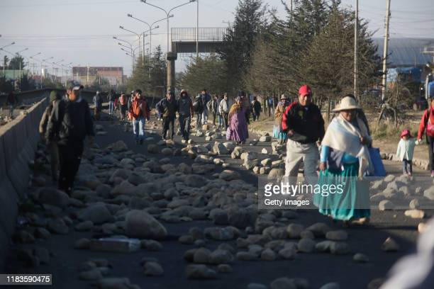 Supporters of Evo Morales block the road to the Senkata Fuel Plant on November 20 2019 in El Alto outskirts of La Paz Bolivia At least six people...