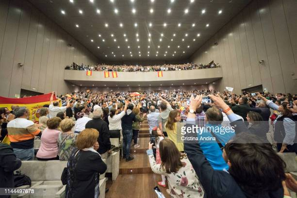Supporters of far right wing party VOX attend a rally at Palacios de Congresos Palexo on April 22 2019 in A Coruna Spain More than 36 million...