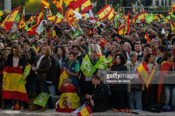 Supporters of far right wing party VOX waving flags during the closing campaign rally ahead of the general elections that will take place in Spain...