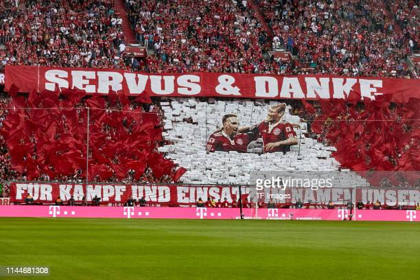 Supporters of FC Bayern Muenchen doing a choreography for Franck Ribery of FC Bayern Muenchen and Arjen Robben of FC Bayern Muenchen during the...
