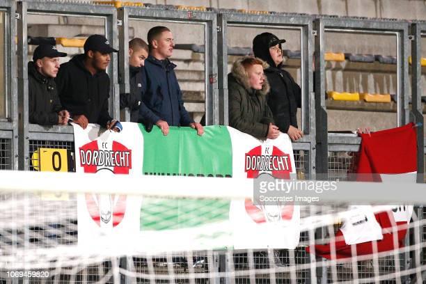 supporters of FC Dordrecht during the Dutch Keuken Kampioen Divisie match between Roda JC v FC Dordrecht at the Parkstad Limburg Stadium on December...
