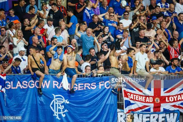 Supporters of FC Glasgow Rangers during 2nd Leg football match between NK Maribor and Rangers FC in 3rd Qualifying Round of UEFA Europa League...