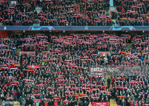 Supporters of FC Liverpool are seen during the UEFA Champions League Semi Final second leg match between Liverpool and Barcelona at Anfield on May 7,...