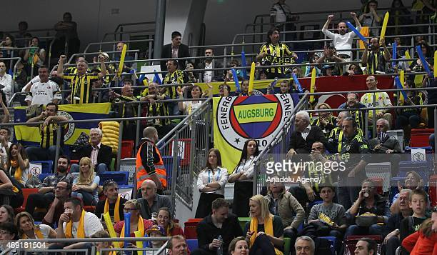 Supporters of Fenerbahce cheer up during the FIBA Euroleague Women's basketball final four match between Fenerbahce and USK Prague at Kralovka Hall...