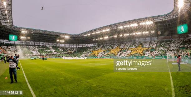 Supporters of Ferencvarosi TC show choreography about the 120th anniversary of the club and the 30th championship title prior to the Hungarian OTP...