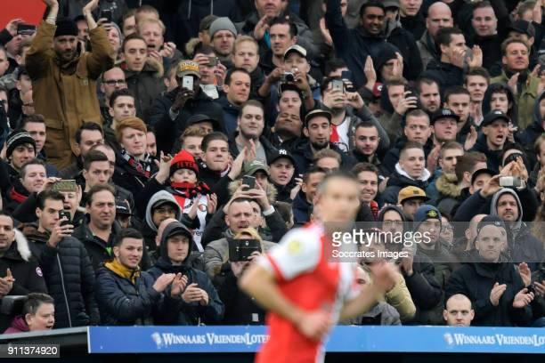 supporters of Feyenoord Robin van Persie of Feyenoord during the Dutch Eredivisie match between Feyenoord v ADO Den Haag at the Stadium Feijenoord on...