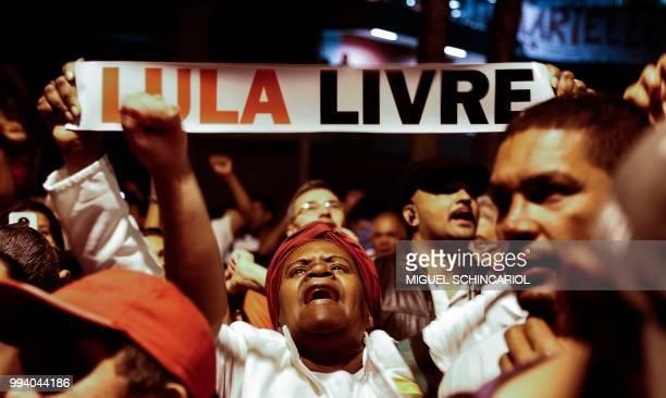 Supporters of former Brazilian President Luiz Inacio Lula da Silva in jail since April for corruption demonstrate demanding his release in Sao...