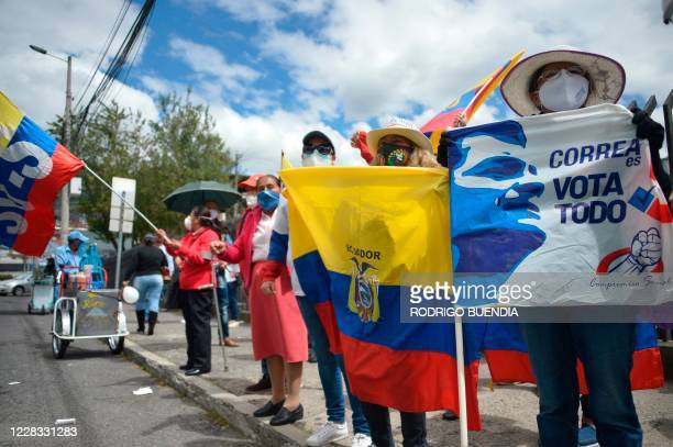 Supporters of former Ecuadorian President Rafael Correa demonstrate outside the National Court of Justice on September 3, 2020. - Ecuador's National...