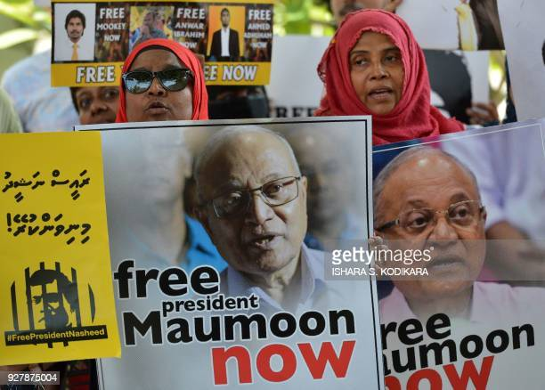 Supporters of former Maldivian president Mohamed Nasheed shouts slogans during a protest against the current Maldives President Abdulla Yameen...
