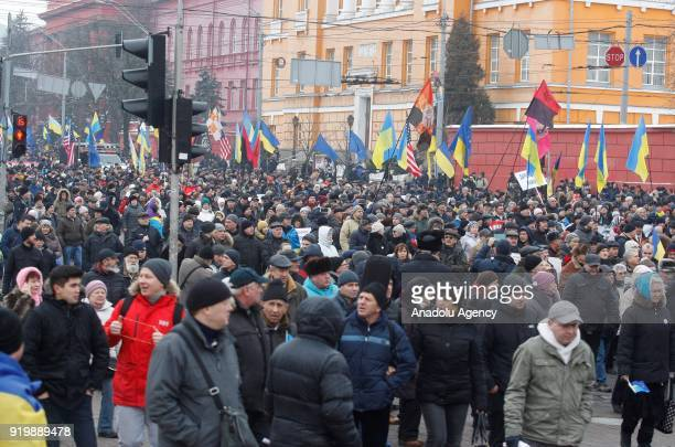 Supporters of former President of Georgia and former Odessa Governor Mikheil Saakashvili attend a march with demand of impeachment of Ukrainian...