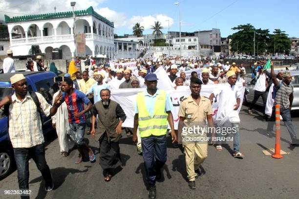 Supporters of former president of the Comoros Ahmed Abdallah Sambi demonstrate in Moroni at the end of the Friday Prayer in front of the main mosque...
