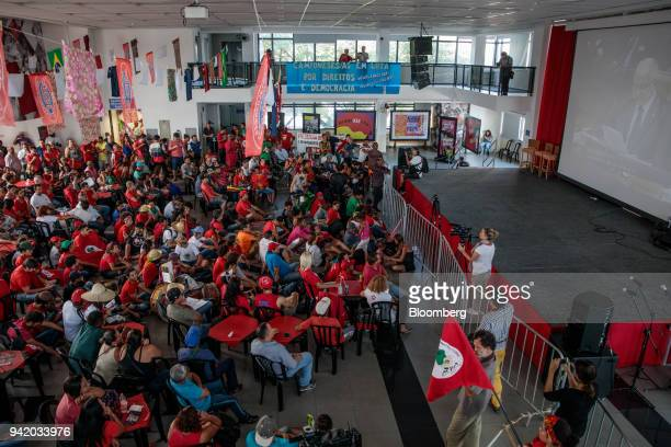 Supporters of former PresidentLuiz Inacio Lula da Silva watch the Supreme Court's sentence ruling at the Metal Worker's Union in Sao Bernardo do...