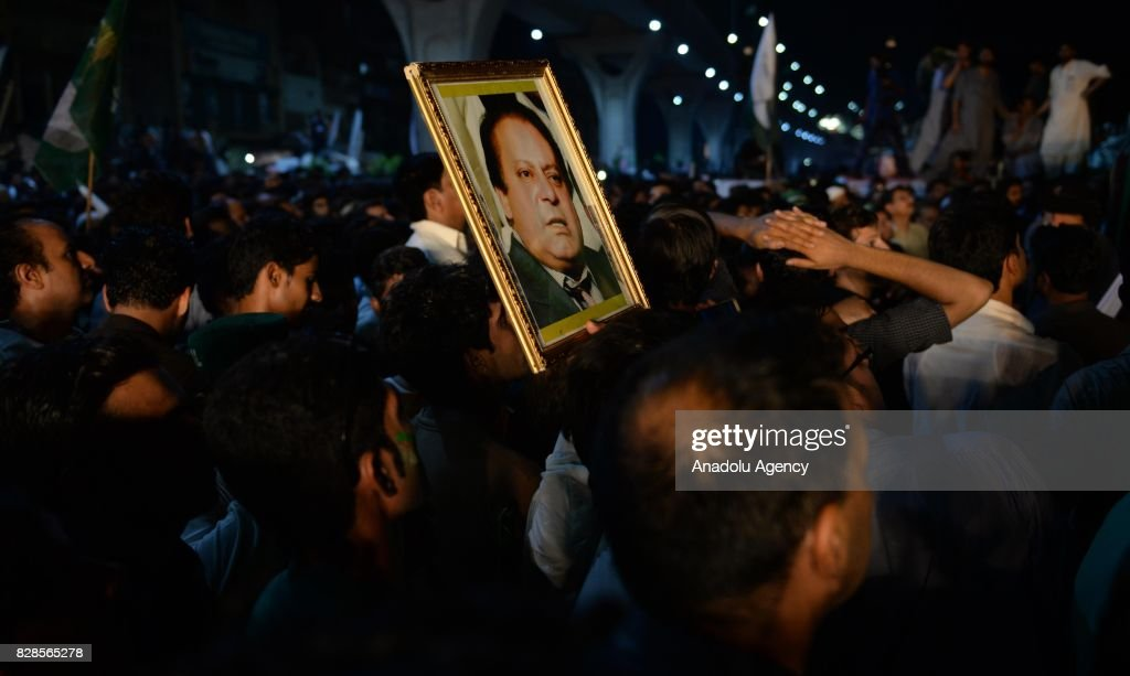 Supporters of former Prime Minister of Pakistan Nawaz Sharif gather during a rally in Rawalpindi Pakistan on August 10 2017 Thousands of Sharif`s...