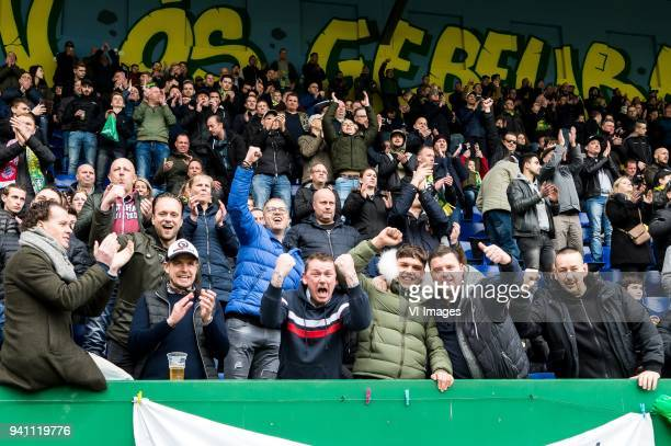supporters of Fortuna Sittard during the Jupiler League match between Fortuna Sittard and Helmond Sport at the Fortuna Sittard Stadium on April 02...
