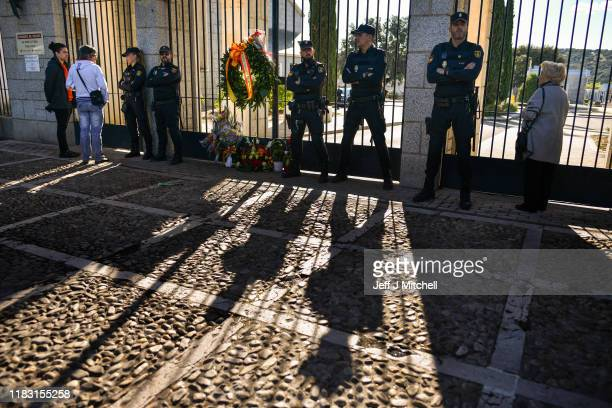 Supporters of Francisco Franco gather outside the Mingorrubio cemetery following his exhumation on October 24 2019 in El Pardo neighborhood in Madrid...