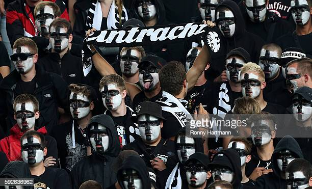 Supporters of Frankfurt during the DFB Cup match between 1 FC Magdeburg and Eintracht Frankfurt at MDCCArena on August 21 2016 in Magdeburg Germany