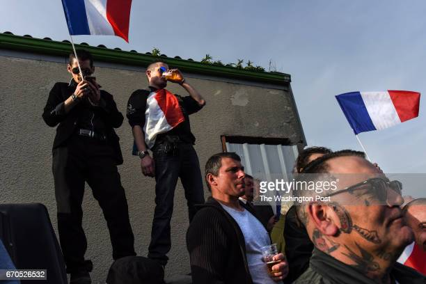 Supporters of French far right candidate Marine Le Pen gather for a rally in La TrinitéPorhoët France on March 30 2017 La TrinitéPorhoët is a rural...