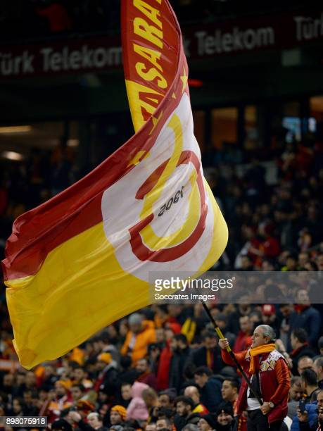 Supporters of Galatasaray during the Turkish Super lig match between Galatasaray v Goztepe at the Turk Telekom Stadium on December 24, 2017 in...