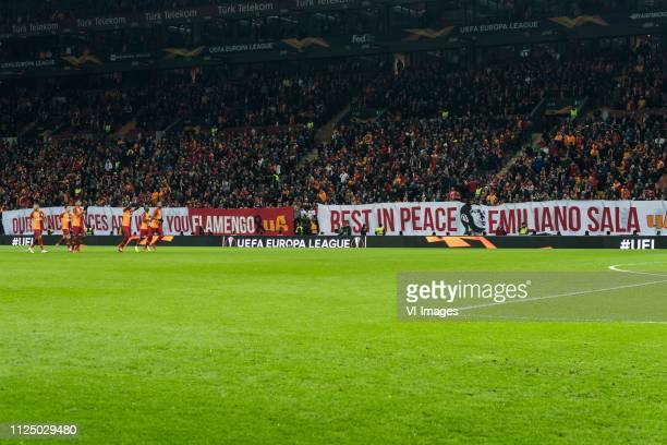 supporters of Galatasaray honour Emiliano Sala during the UEFA Europa League round of 32 match between Galatasaray SK and SL Benfica at Ali Sami Yen...