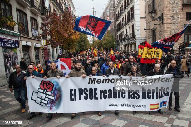 Supporters Of General Franco Gather To Commemorate The 43rd Anniversary Of The Dictator's Death at Plaza de Oriente on November 18 2018 in Madrid...